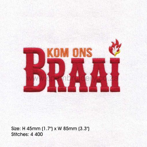 kom ons braai rooi letters afrikaans borduur ontwerp embroidery design bbq medium