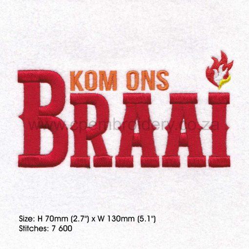 kom ons braai rooi letters afrikaans borduur ontwerp embroidery design bbq large