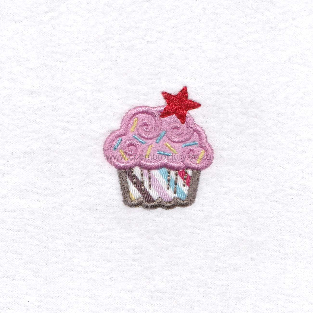 extra small pink cupcake cookie sprikles red star decorated applique embroidery design