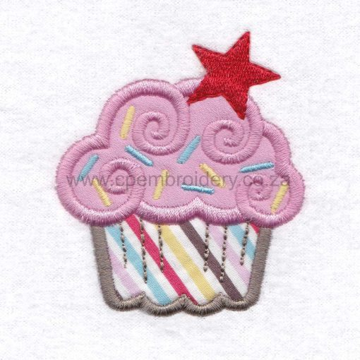 large pink cupcake cookie sprikles red star decorated applique embroidery design