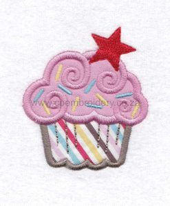 medium pink cupcake cookie sprikles red star decorated applique embroidery design