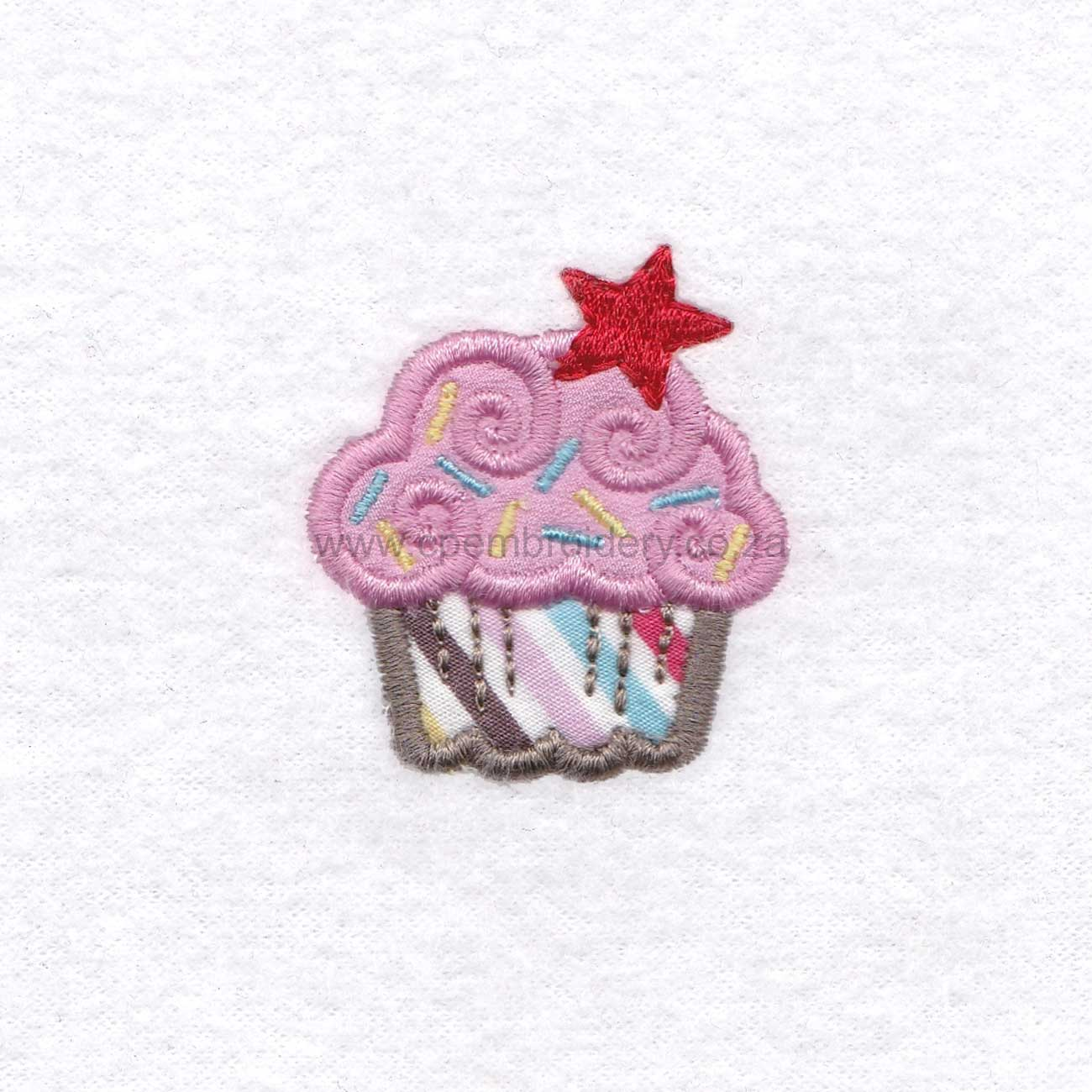 small pink cupcake cookie sprikles red star decorated applique embroidery design