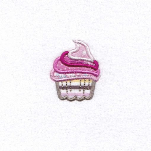 extra small cupcake cookie iced icing decorated swirl pink applique embroidery design