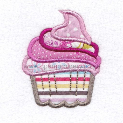 large cupcake cookie iced icing decorated swirl pink applique embroidery design