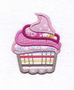medium cupcake cookie iced icing decorated swirl pink applique embroidery design