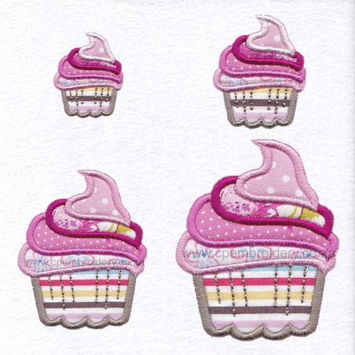 cupcake cookie iced icing decorated swirl pink applique embroidery design