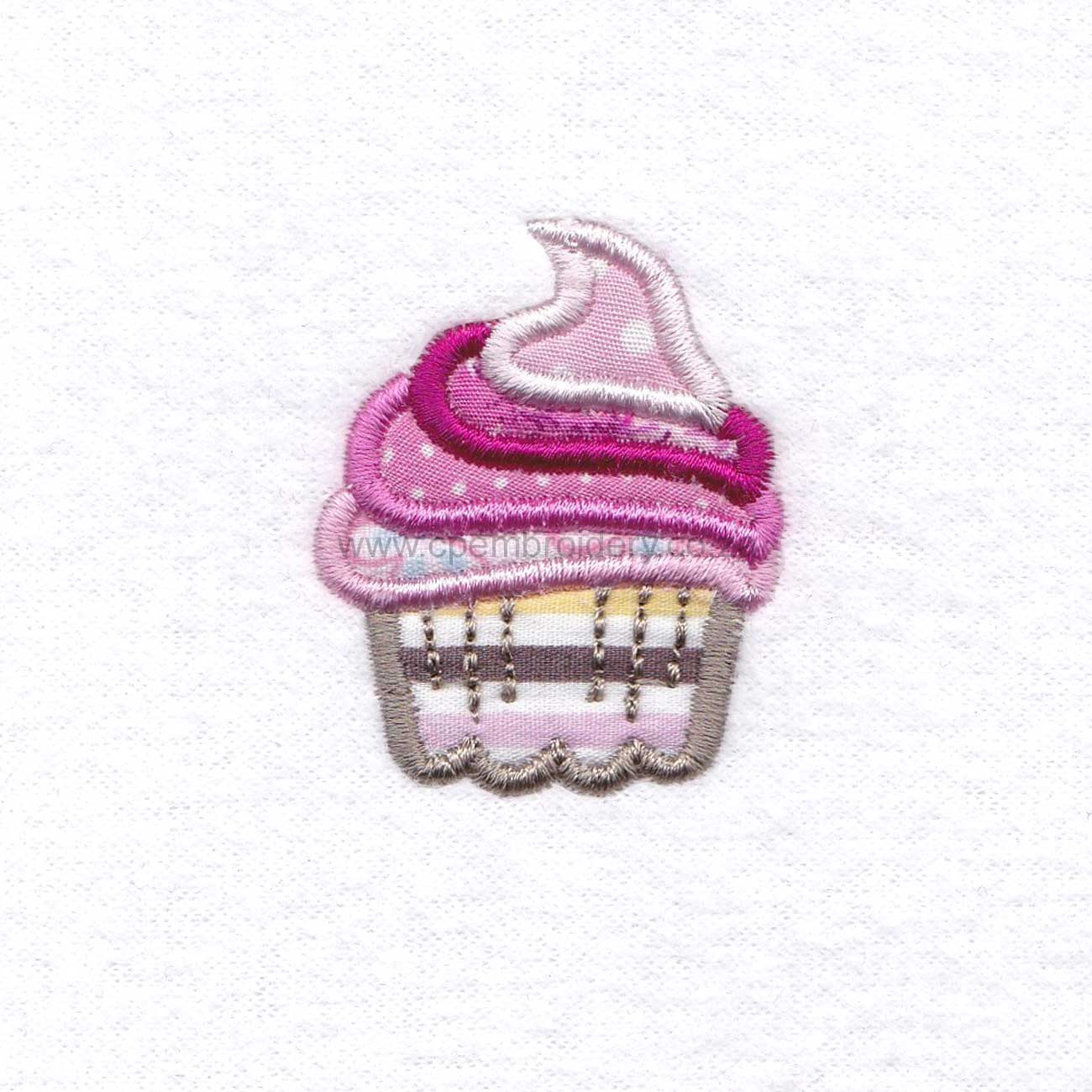 small cupcake cookie iced icing decorated swirl pink applique embroidery design