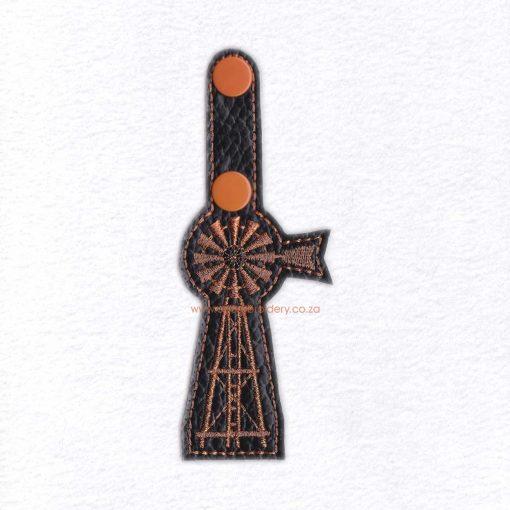 in the hoop farm windmill ladder key fob key chain snap tab embroidery design