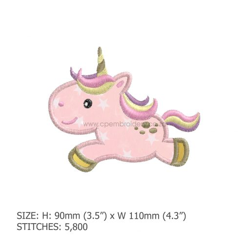 """baby pony unicorn one horn mythical horse jumping number 1 machine embroidery download design 5"""" x 5"""" frame"""