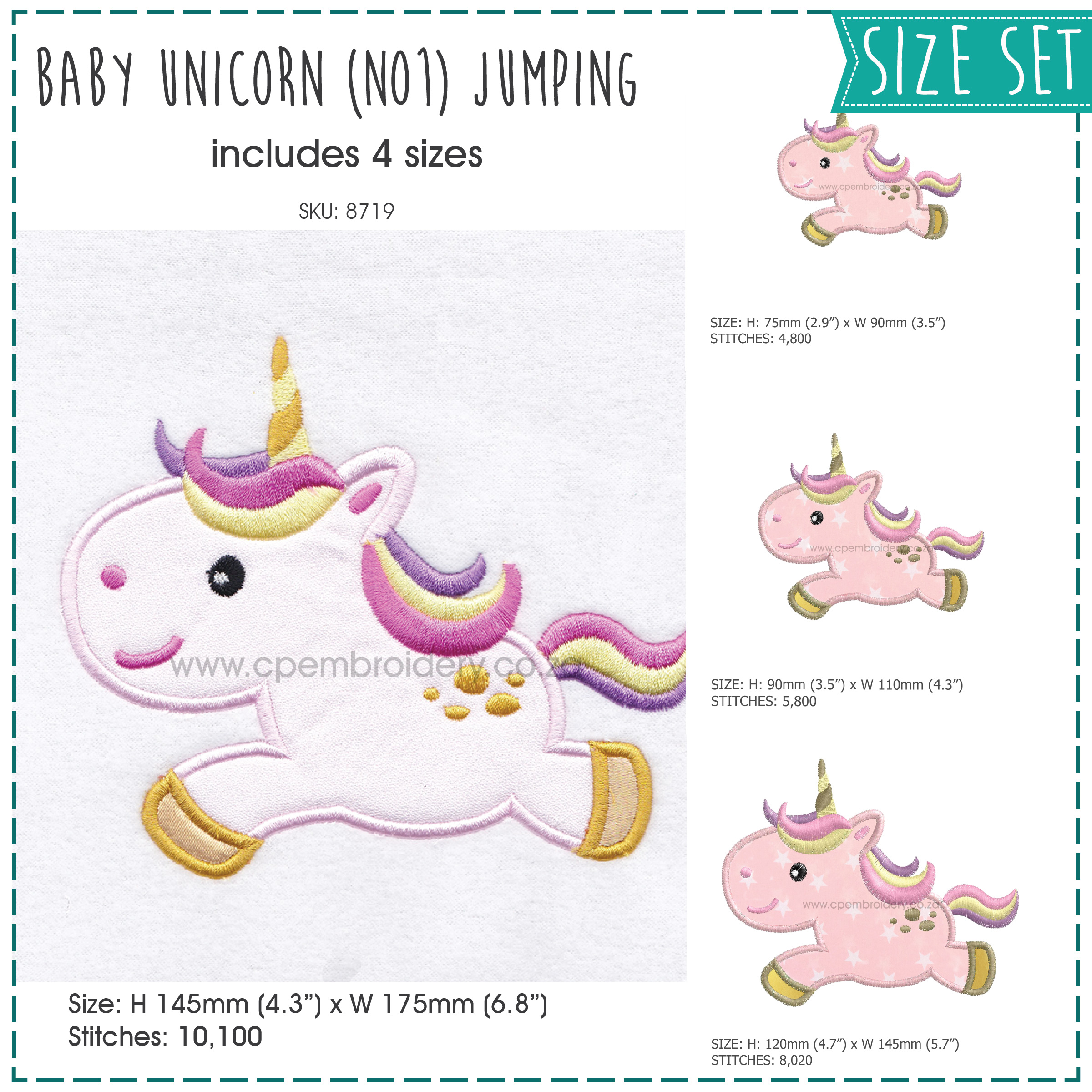 baby pony unicorn one horn mythical horse jumping number 1 machine embroidery download design size set