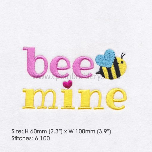 yellow pink bee wasp mine machine embroidery design 4""