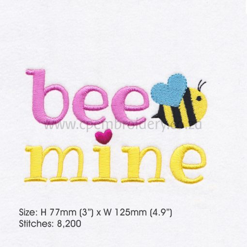 yellow pink bee wasp mine machine embroidery design 5""