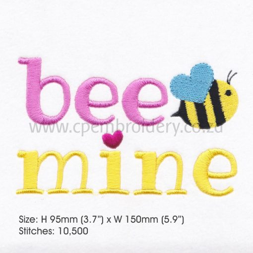 yellow pink bee wasp mine machine embroidery design 6""