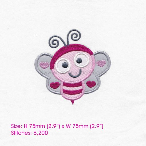 pink gray grey bug bee wasp smiling heart wings big eyes love bug machine embroidery design download 3 inch