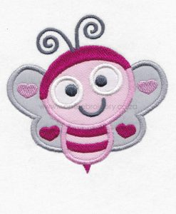 pink gray grey bug bee wasp smiling heart wings big eyes love bug machine embroidery design download