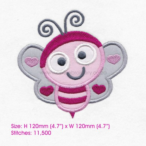 pink gray grey bug bee wasp smiling heart wings big eyes love bug machine embroidery design download 6 inch
