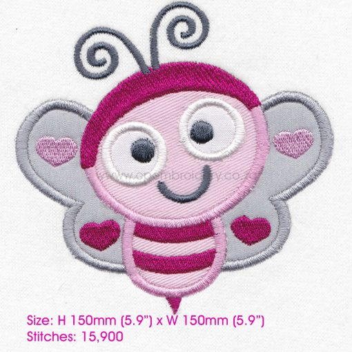 pink gray grey bug bee wasp smiling heart wings big eyes love bug machine embroidery design download 8 inch
