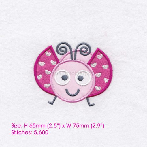 pink gray grey bug ladybird ladybug heart wings big eyes love bug machine embroidery design download 3 inch