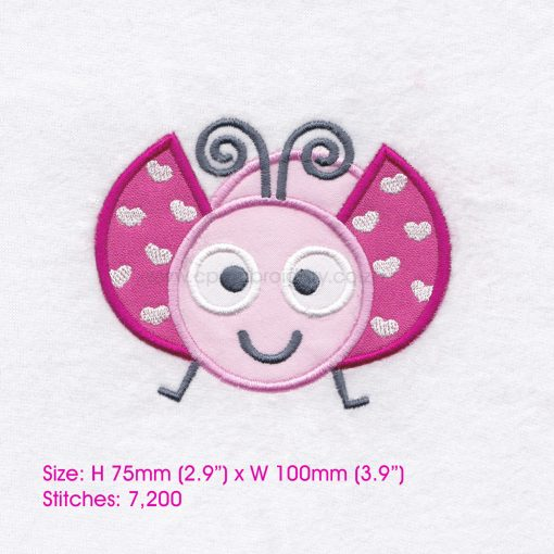 pink gray grey bug ladybird ladybug heart wings big eyes love bug machine embroidery design download 4 inch