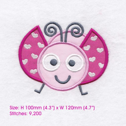 pink gray grey bug ladybird ladybug heart wings big eyes love bug machine embroidery design download 6 inch