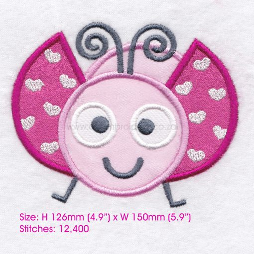 pink gray grey bug ladybird ladybug heart wings big eyes love bug machine embroidery design download 8 inch