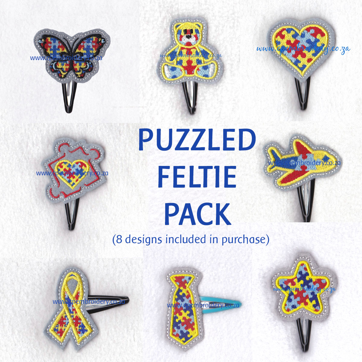 various interlocking colored colorful puzzle detail pieces puzzled support embroidery design support autism awareness pack feltie set