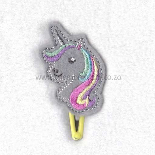 unicorn head feltie silver horn pastel colored mane hair machine embroidery download design