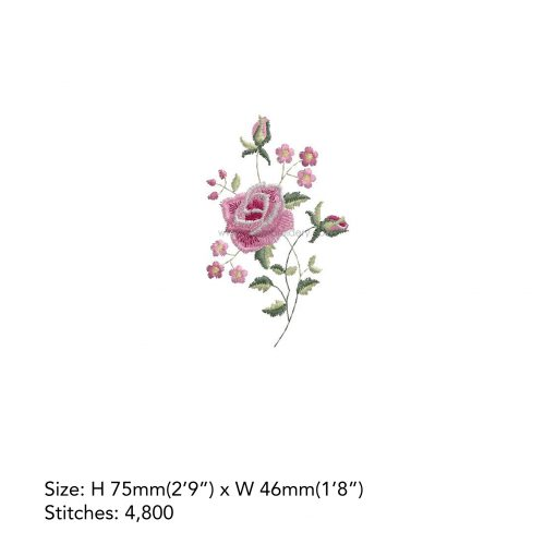 """antique vintage old style victorian style single rose floral decorative pink white handkerchief machine embroidery download design file fits 3""""x3"""" frame"""