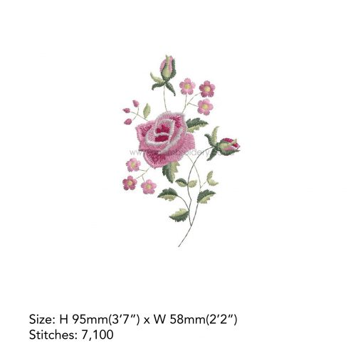 """antique vintage old style victorian style single rose floral decorative pink white handkerchief machine embroidery download design file 4""""x4"""" frame"""