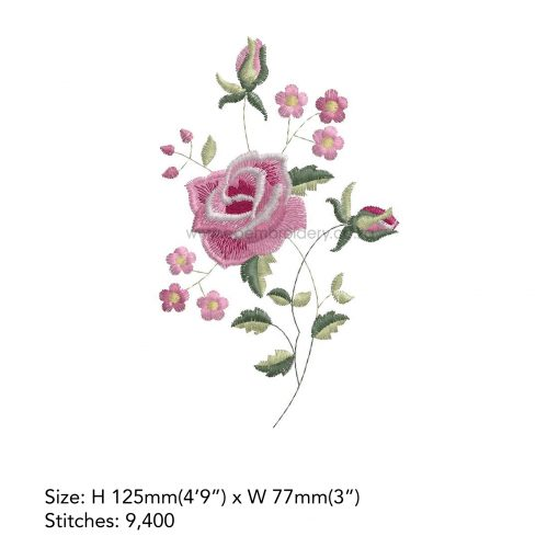 """antique vintage old style victorian style single rose floral decorative pink white handkerchief machine embroidery download design file 5""""x7"""" frame"""