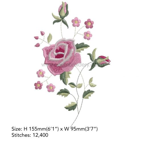 """antique vintage old style victorian style single rose floral decorative pink white handkerchief machine embroidery download design file 6""""x10"""" frame"""