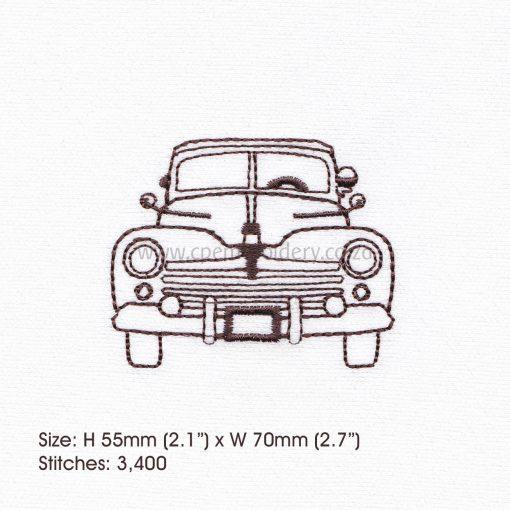 """antique old vintage motor car vehicle outline sketch machine embroidery design file 3"""" x 3"""" frame"""