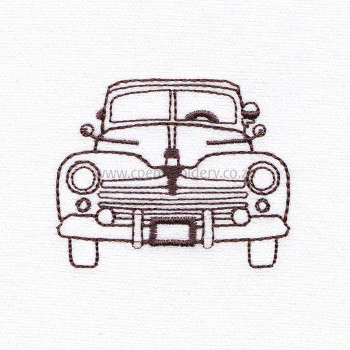 antique old vintage motor car vehicle outline sketch machine embroidery design file