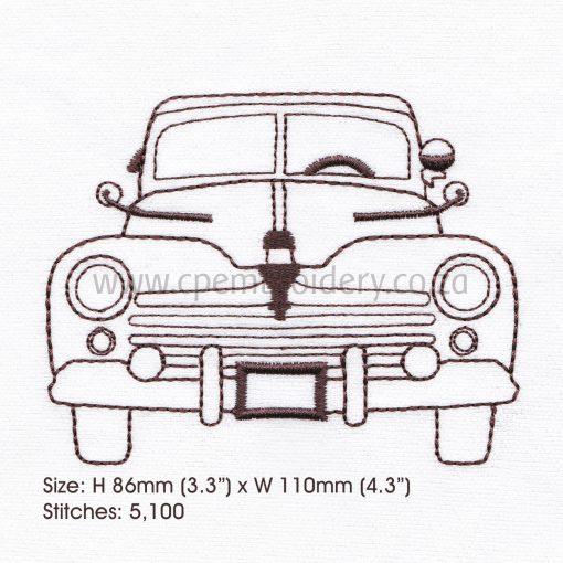 """antique old vintage motor car vehicle outline sketch machine embroidery design file 5"""" x 7"""" frame"""