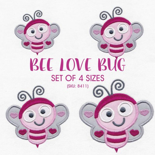 pink gray grey bug bee wasp smiling heart wings big eyes love bug machine embroidery design download set pack sizes