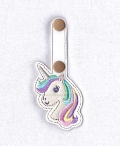 in the hoop ith pastel unicorn key fob key chain snap tab embroidery design
