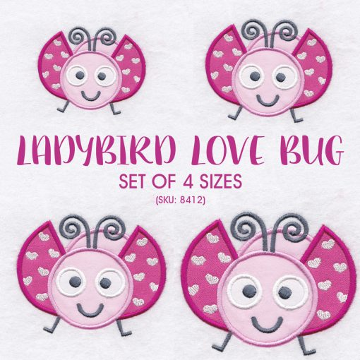 pink gray grey bug ladybird ladybug heart wings big eyes love bug machine embroidery design download set pack