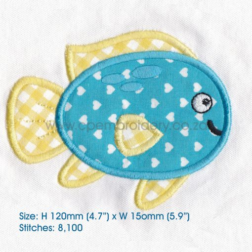 "blue yellow pet fish cute applique machine embroidery download design fits 6"" x 10"" frame"