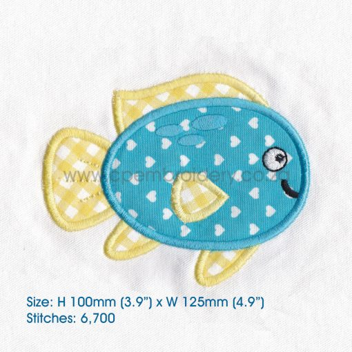 "blue yellow pet fish cute applique machine embroidery download design fits 5"" x 7"" frame"