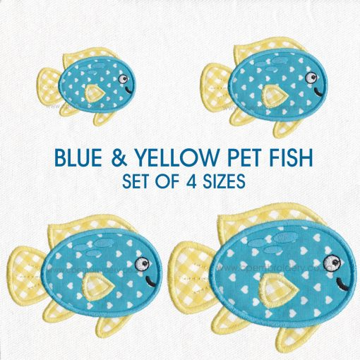 blue yellow pet fish cute applique machine embroidery download design size set pack