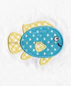 blue yellow pet fish cute applique machine embroidery download design various sizes set pack