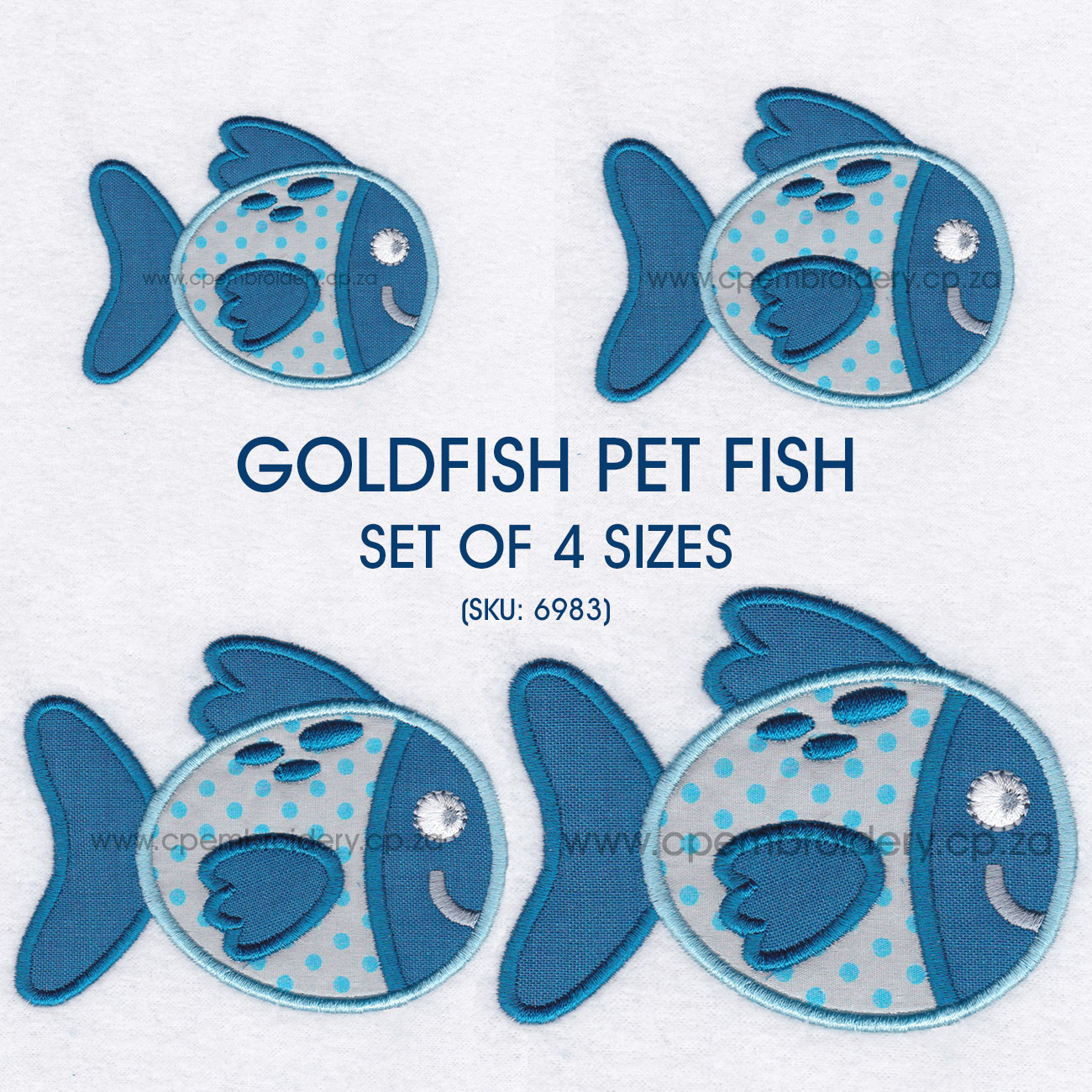 goldfish blue teal peacock pet fish cute friendly simple applique machine embroidery download design set sizes pack