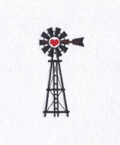"simple black red heart farm windmill windpomp plaas hart embroidery design 4"" x 4"" frame"