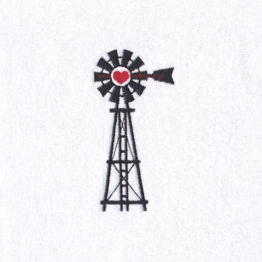 "simple black red heart farm windmill windpomp plaas hart embroidery design 4"" x 4"" frame"