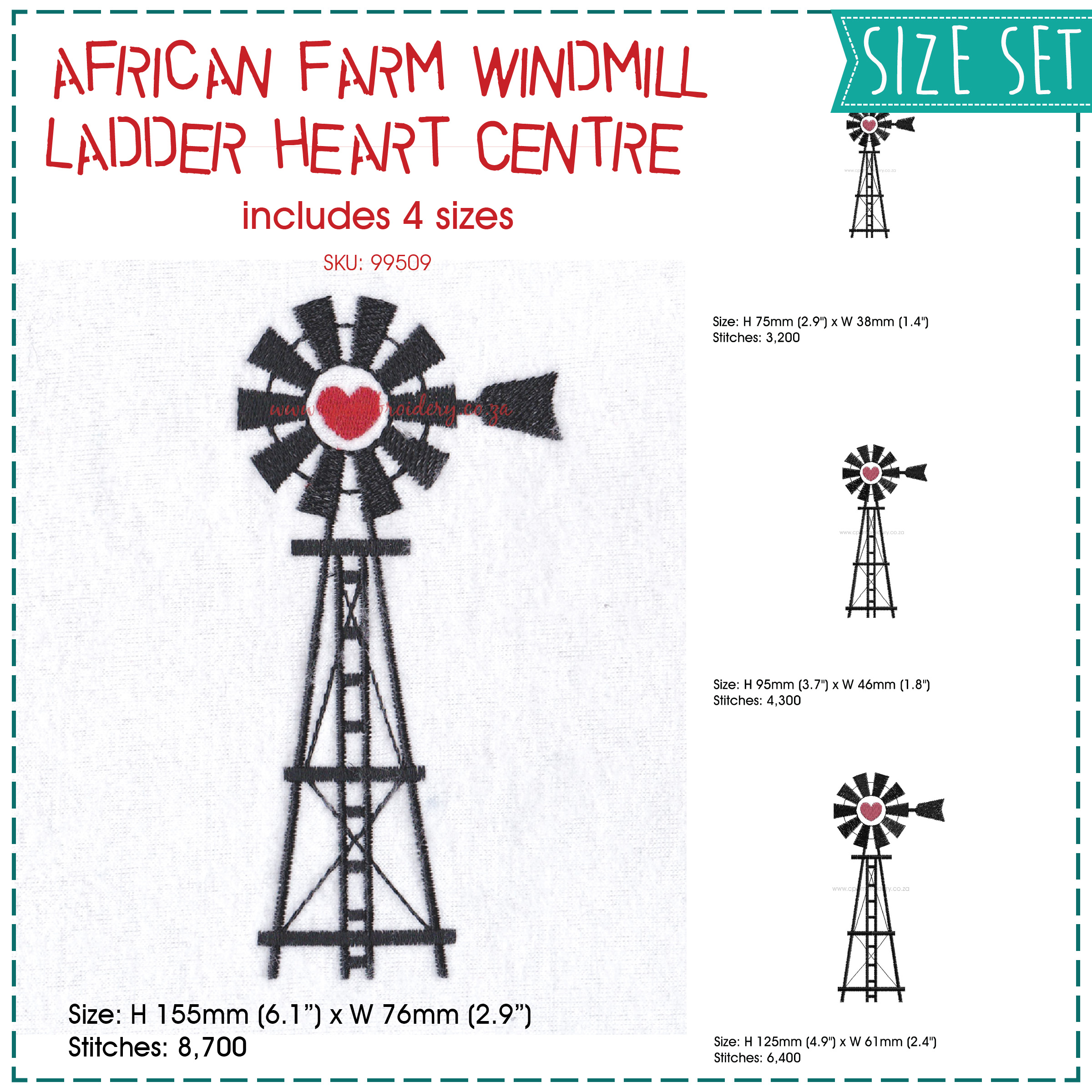 simple black red heart farm windmill windpomp plaas hart embroidery design size set pack