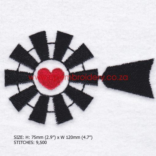 "black african farm windmill heart centre middle head top machine embroidery design fits 5"" x 7"" design"