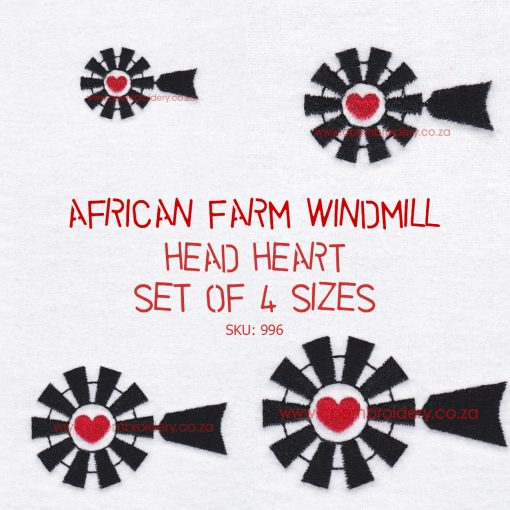 black african farm windmill heart centre middle head top machine embroidery design