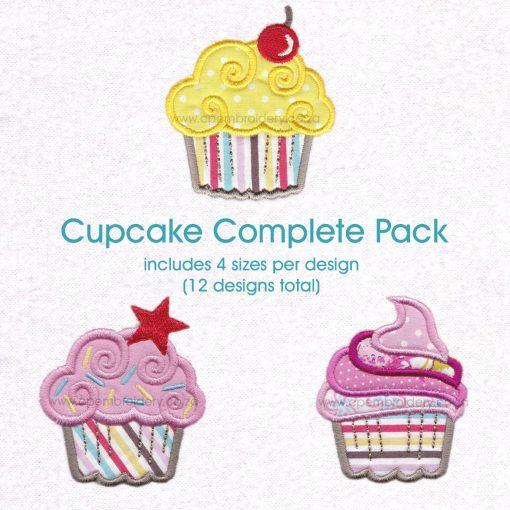 three cupcake swirl cherry star pink sprinkles pink stripes machine embroidery download design pattern file