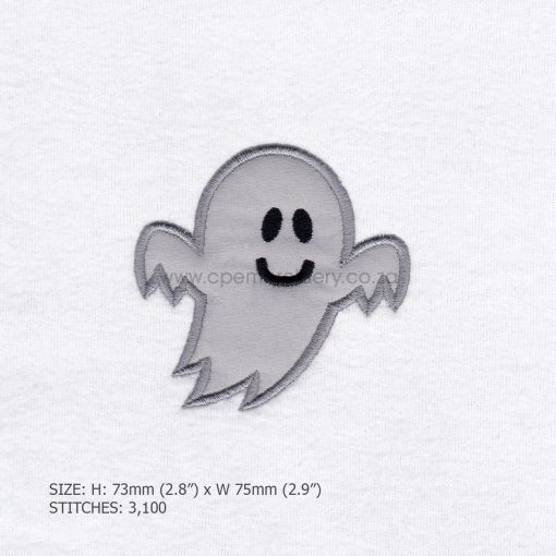 friendly smiling halloween funny ghost grey gray boy number 1 one applique machine embroidery download design file pattern extra small