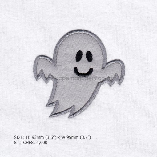 friendly smiling halloween funny ghost grey gray boy number 1 one applique machine embroidery download design file pattern small